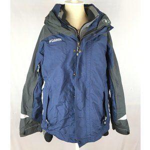 Columbia jacket nylon shell fleece blue gray hood